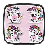 YATELI Precioso bebé Unicornio Rosa Perillas de extracción de para gabinetes, armarios, Puertas y cajones de Muebles: se Venden como un Paquete de 4 perillas
