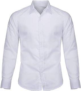 Men Solid Suit Shirt Tops, Male Long Sleeve Turn-down Collar T-shirt Blouse Business Shirt Top
