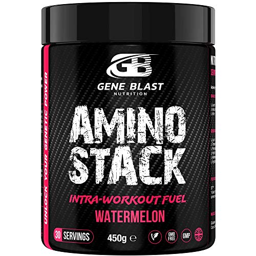 GENE BLAST Amino Stack - BCAA-EAA Supplement with Coconut Water Powder, Glutamine, S7 Nitric Oxide Booster-Exercise Support & Muscle Growth 450g 30 Servings (Watermelon)