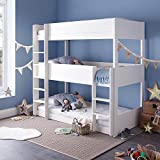 Three Tier White Sleeper, Happy Beds Snowdon Triple Sleeper Bunk Bed - 3ft Single (90 x 190 cm) Frame Only