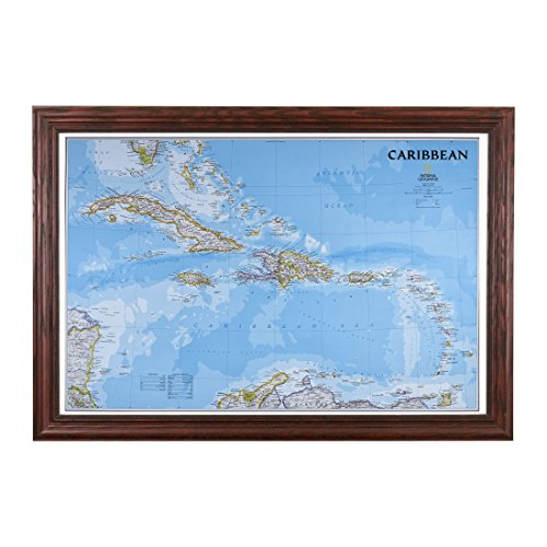 Push Pin Travel Maps Classic Caribbean with Solid Wood Cherry Frame and Pins - 27.5 inches x 39.5 inches