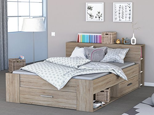 "Kompaktbett Einzelbett Jugendbett Doppelbett Bett Funktionsbett \""Scalea I\"" Sonoma-Eiche"