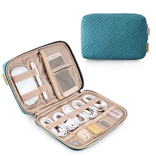 Electronic Organizer BAGSMART Travel Cable Organizer Bag for Hard Drives, Cables, Charger, Phone, USB, SD Card (Teal-Women-Small)