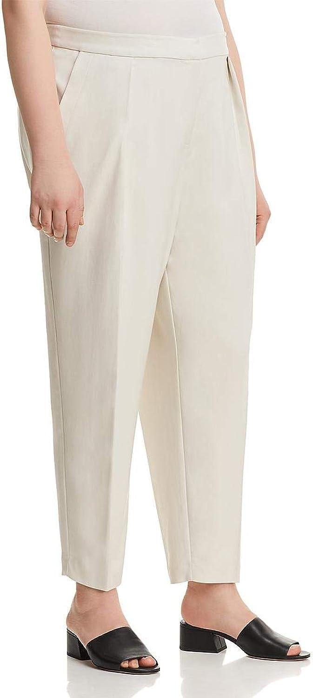 Eileen Fisher Womens Plus Tencel Office Wear Ankle Pants Ivory 18W