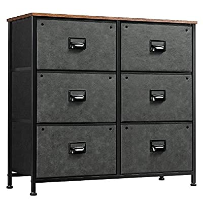 WLIVE Dresser with 6 Drawers, Fabric Storage Tower, Industrial Closet Organizer Unit with Metal Frame, Wooden Top, Storage Dresser for Bedroom, Hallway, Entryway, Black
