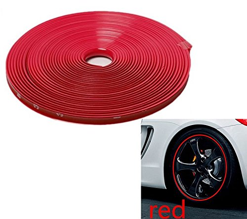8mm x 8m - ROT/RED Felgenrand Alufelgenschutz Selbstklebende Protektor-Band Kunststoff-Schutzstreifen Schutz Streifen Kunststoff Aufkleber Profil zum Schutz der Felge - Hallenwerk / 101822
