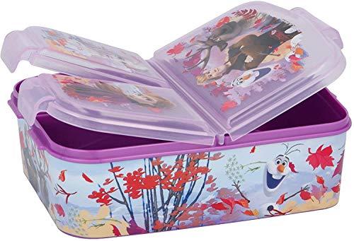 CM Sandwichera con 3 Compartimentos para niños - lonchera Infantil - Porta merienda - Fiambrera Decorada (Lila-Fro)