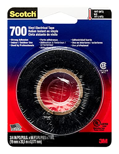 Scotch Electrical Tape, 3/4-in by 66-ft, Black, 1-Roll