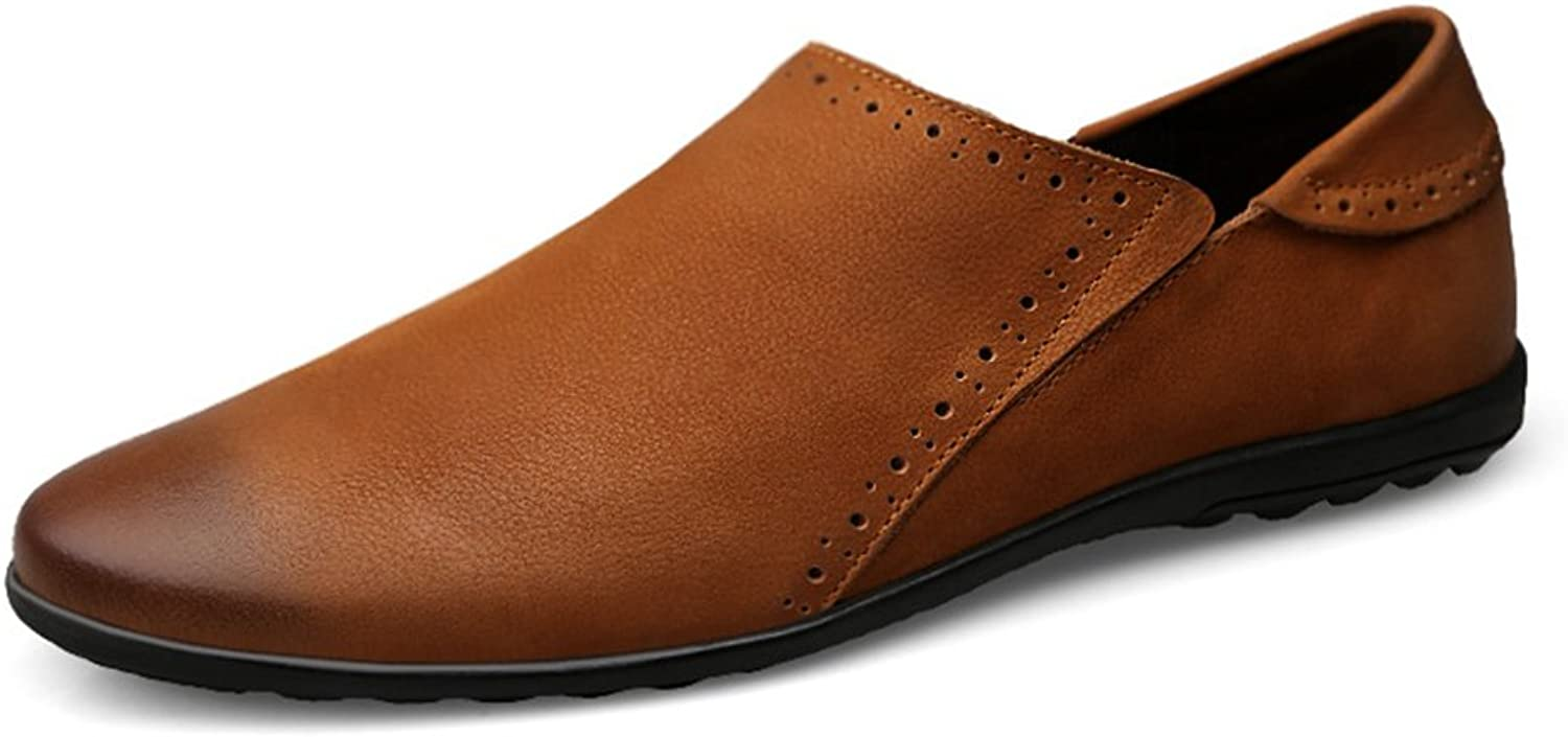 Men's shoes Leather Spring Fall Driving shoes Comfort Loafers & Slip-Ons Driving shoes for Athletic Breathable Casual Outdoor Formal Business Work (color   A, Size   39)