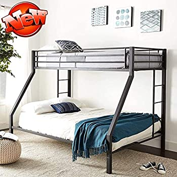 Jresboen Updated Version & Stronger Bunk Bed Industrial Style Thicken Metal Bunk Bed Frame with Side Ladder and Guard Rails for Kids Girls Boys and Adults  Twin XL Over Queen