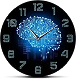 Reloj de pared de código binario arte inteligencia cerebro reloj de pared movimiento silencioso reloj de pared empresa decoración de oficina cerebro placa de circuito arte para frikis