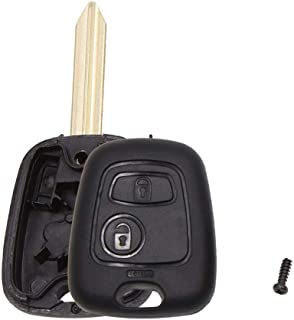 uxcell New 2 Buttons Uncut Insert Key Fob Case Remote Control Shell Replacement for Citroen Saxo