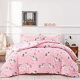 Uozzi Bedding Summer Unicorn Comforter Twin Pink with Stars and Rainbows 100% Microfiber Girls 68x88 Unicorns Duvet Iinsert Cute All-Season Bed Comforters for Kids Teen Women