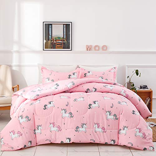 Uozzi Bedding Bed in a Bag 6 Pieces Twin Size Unicorn Pink with Rainbow Star - Soft Microfiber, Reversible Bed Comforter Set (1 Comforter, 2 Pillow Shams, 1 Flat Sheet, 1 Fitted Sheet, 1 Pillowcases)