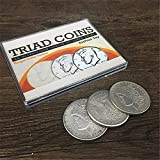 Enjoyer Triad Coins (Morgan Gimmick) Magic Tricks Close Up Magic Vanishing Change Three Coin Magic Mentalism Super Visual Effect