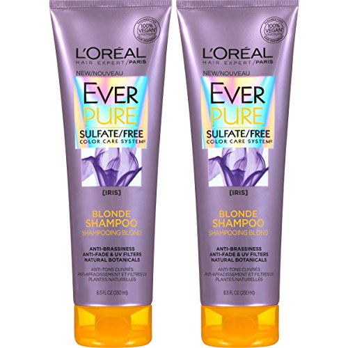 L'Oréal Paris Hair Care EverPure Blonde Sulfate Free Shampoo for Color-Treated Hair, Neutralizes Brass + Balances, For Blonde Hair, 2 Count (8.5 Fl. Oz each)