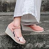 YYYSHOPP scarpe ricamate scarpe da donna zeppa originale ricamato scarpe stile nazionale tè arte vestiti selvaggio vecchio Pechino scarpe Mary Janes (colore : Rosa, Taglia : 5.5)