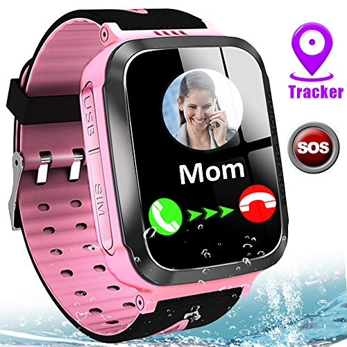Kids Smart Watch Waterproof LBS Tracker Phone Watches for Boys Girls Age 4-12 with SOS Calling Camera Puzzle Games Alarm Clock LED Flashlight 1.44' Touch Screen Smartwatch Birthday Gift (Black & Pink)