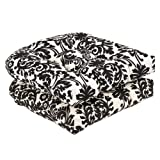 Pillow Perfect Outdoor/Indoor Essence Onyx Tufted Seat Cushions (Round Back), 19' x 19', Black, 2 Count