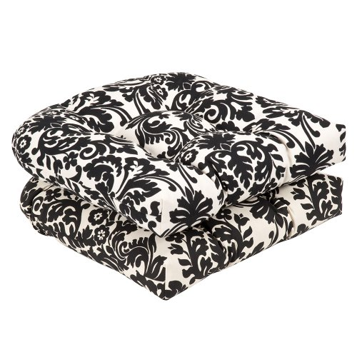 Pillow Perfect Outdoor/Indoor Essence Onyx Tufted Seat Cushions Round Back 19quot x 19quot Black 2 Count