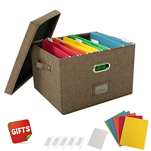 JSungo File Organizer Box Office Document Storage with Lid, Collapsible Linen Hanging Filing Organization, Home Portable Storage with Handle, Letter Size Legal Folder, Brown