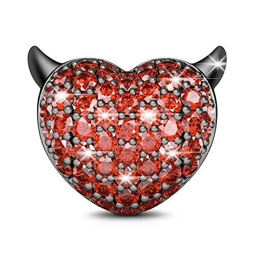 GNOCE Schädel Perlen Charm Anhänger 925 Sterling Silber Schwarz plattiert Charms mit Rot Zirkonia Charm Schmuck für alle Armbänder Halsketten Geschenke Bijouterie für Damen Männer (Style-2)