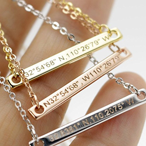 ??Best Christmas Gift?? Coordinate bar Necklace Customized Diamond Engraving 16k Gold Plated GPS Personalized bridesmaid Wedding Graduation Birthday Anniversary Mothers day Gift