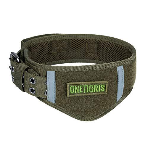 OneTigris Collar de Perro Ajustable Suave para Perros (Ranger Verde, L)