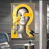 Geiqianjiumai Arte de Pared de Estilo escandinavo Impreso Imagen Modular ilustración Floral Figura Abstracta sobre Lienzo póster decoración del hogar Pintura sin Marco 40x50 cm