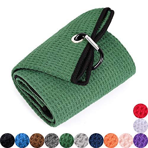Mile High Life Tri-fold Golf Towel | Premium Microfiber Fabric | Waffle Pattern | Heavy Duty Carabiner Clip (Green/Black)
