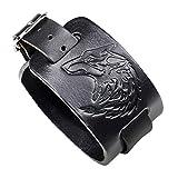 Lederband - Lederarmband-Manschettenarmband mit Wolfskopf - Einstellbare Größe und angenehm zu tragen.