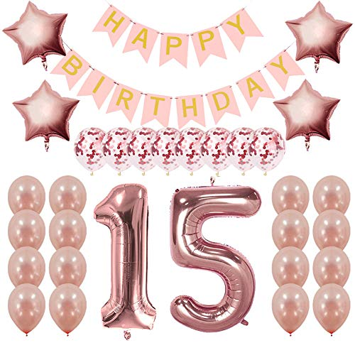 Rose Gold 15th Birthday Decorations for Girls, Quinceanera Decorations, Sweet 15 Birthday Gifts Party Supplies, 15th Birthday Banner and Balloons