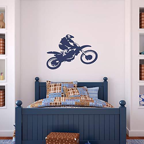 Motocross Decal Motorfiets Jongens Muursticker Dirt Bike Decal Jongens Quads Motor Cross Muurdecoratie Speelkamer Vinyl Lettering Racing