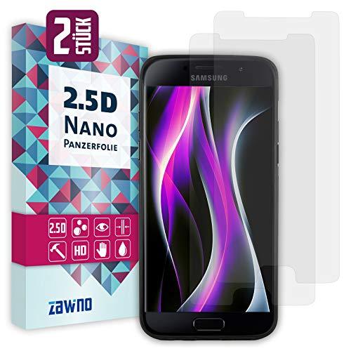 zawino [NEU] Panzerfolie für Samsung Galaxy A5 2017 [2 Stück], Displayschutzfolie, Schutzfolie [kein Glas] [schmutzabweisend, HD-klar, 99% Transparenz, ölabweisend, 100% Touchfunktion]