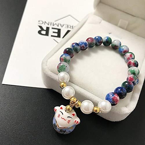 ZMMZYY Bracelet en Pierre,sucré Simple Mode Bleu en céramique Lucky Cat Stone Beads Bracelet Bracelets pour Femmes Les Filles Cadeaux Anniversaire Bijoux Charme féminin