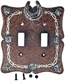 Western Star Light Switches - Rainbow Trading RA 4882 Barbed Wire and Horseshoe Decorative Double Switch Plate Cover