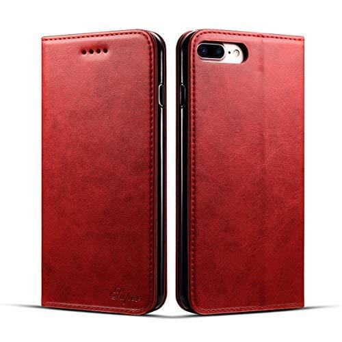 KelaSip Funda iPhone 6 Plus/6S Plus, Billetera de Cuero iPhone 6 Plus/6S Plus [Función de Soporte][Ranuras para Tarjetas][Magnética Cerrada] Estilo Libro Carcasa Case [Rojo]
