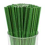 Just Artifacts 100pcs Premium Biodegradable Solid Paper Straws (Solid, Metallic Green)