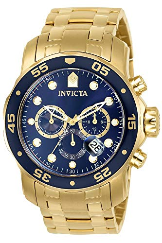 Invicta Men's 0073 Pro Diver Collection Chronograph 18k Gold-Plated Watch with Link Bracel