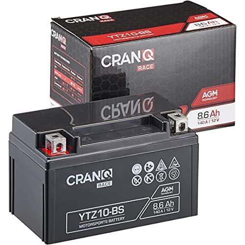 CranQ 12V 8,6Ah 140A AGM-Batterie YTZ10-BS Motorradbatterie rüttelfest Roller Starterbatterie leistungsstark, wartungsfrei