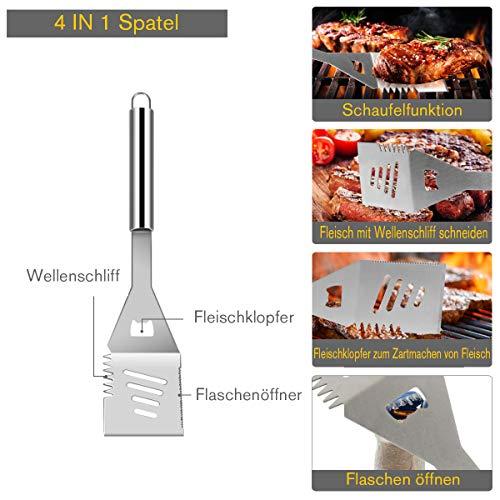 51Jiuq8r3hL - COSTWAY Grillbesteck-Set 27-teilig, aus Edelstahl, BBQ-Grillwerkzeugsatz mit Tragekoffer, Komplettes Grillzubehör zum Kochen, Camping