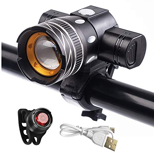 Bike Light Rechargeable, Super Bright Bicycle Light Set, Waterproof Bike Front Light & Tail Light, Adjustable Focus 3 Modes, Cycling Lights Fits All Bicycles Mountain & Road