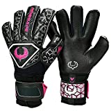 Renegade GK Triton Frenzy Goalie Gloves with Pro-Tek Fingersaves | 3.5+3mm Super Grip & 4mm Duratek | Black & Pink Goal Keeper Gloves (Size 10, Adult, Mens, Roll-Neg. Hybrid Cut, Level 2)