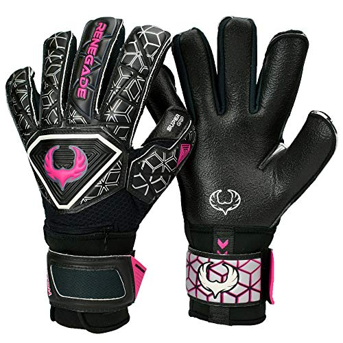 Renegade GK Triton Frenzy Goalie Gloves with Pro Fingersaves | 3.5+3mm Super Grip & 4mm Duratek | Black & Pink Soccer Goalkeeper Gloves (Size 5, Kids, Boys, Girls, Roll-Neg. Hybrid Cut, Level 2)