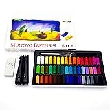 Mungyo Pastellkreide, ungiftig, 48 Stück, mit Zeichenmaterialien (Pastellhalter, Radiergummi)
