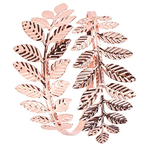 Hängende Ornamente WeihnachtenBlatt Armband Armband Eisen verstellbar Offener Mund Lorbeer Blatt Zweig Armreif Braut Arm Manschette Schmuck für Hochzeit Bithday Geschenke Täglich (Golden) Gartenzaun