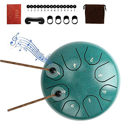 Nanssigy 6 Zoll Steel Tongue Drum 8 Tune Lotus Flower Hand Pan Drum with Drumsticks Tragetasche Fingercover...