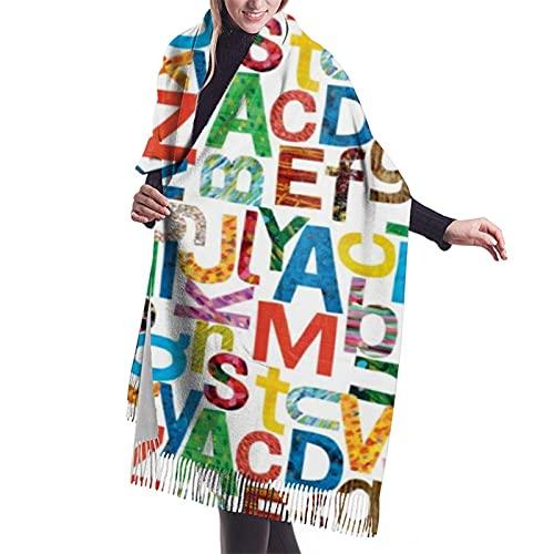 Reebos Eric Carle - Bufanda con letras del alfabeto para mujer, suave cachemira, elegante y cálida manta de invierno