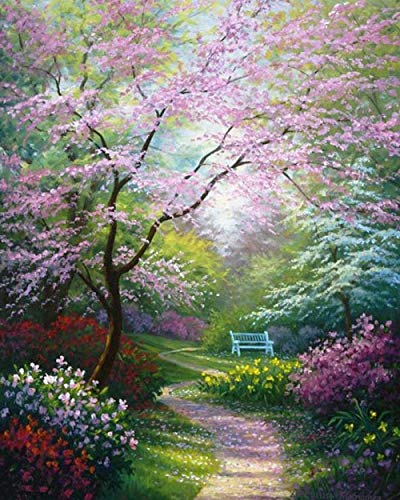 DIY Painting Garden Bench Paint by Numbers Kits for Adults and Kids with Paints Brushes and Card Sized Magnifier 40cm x 50cm (Without Frame)