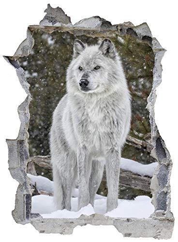 Wolf Wald Schnee Natur Wandtattoo Wandsticker Wandaufkleber E0148 Größe 67 cm x 90 cm